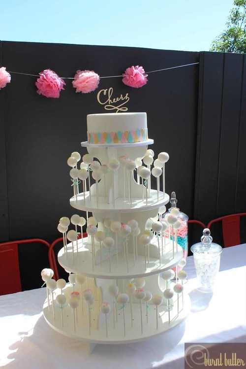 white wooden cake pop stand hire burnt butter cakes