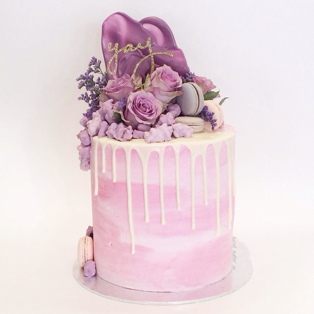purple flower wedding cakes genevieve pink amp purple floral cake burnt butter cakes 18895