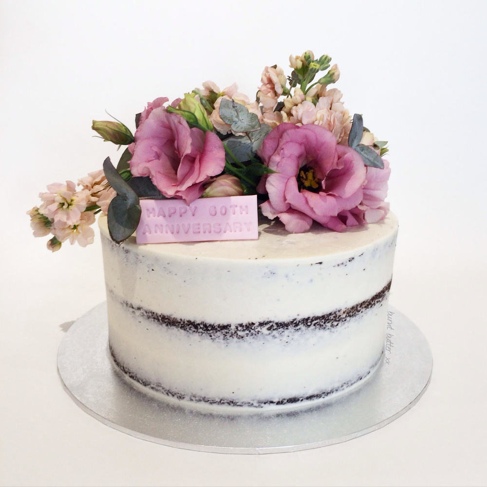 Mandy Floral Semi Naked Cake with 3 Varieties of Fresh Flowers ...