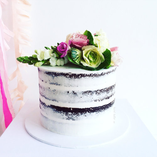 Tall Semi Naked Cake With 3 Varieties Of Standard Fresh Flowers