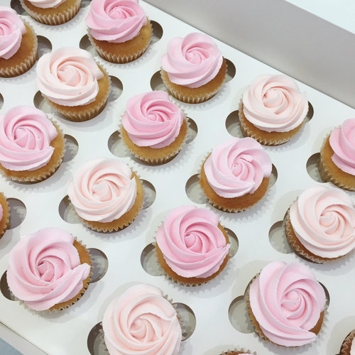Butter Cream Rosette Cupcakes Soft Pinks Burnt Butter Cakes