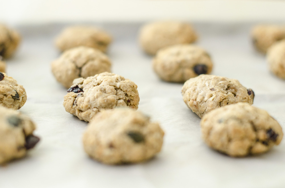 Granola cookies with cranberries, sunflower seeds, and Tahini..