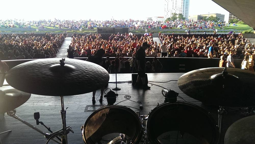 View from Anthony Corsaro's drum set when we performed in Ginny Mac Band at The 25th Annual Accordion Kings and Queens Festival in Houston, TX.