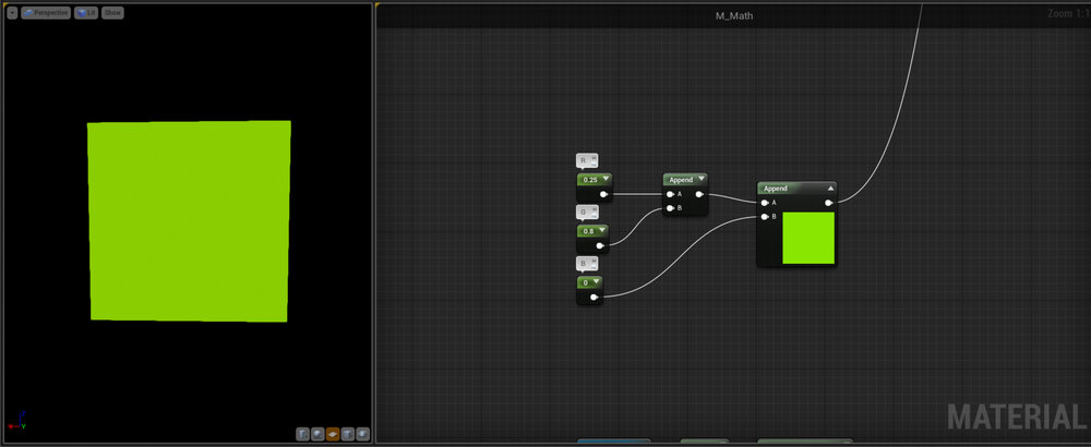 Append   This node is basically the opposite to the Mask node we covered earlier.  It take two inputs and outputs them combined, such as in the example where we're combining three scalar values into a Vector 3 or Colour.    Another indispensable node when working with Scalars and Vectors.