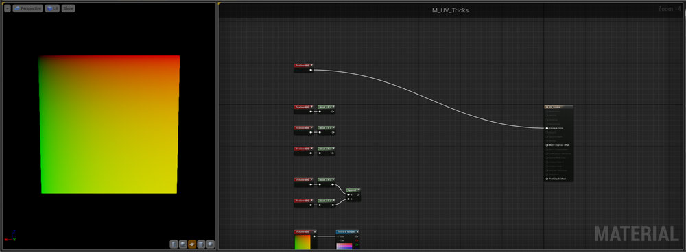 UVs Firstly I've just plugged the UV output into the emissive node and we get Reds, Yellows and Greens.  What's going on?  Well if we use our Mask node and break out the channels we can see it's actually just a black to white gradient in the red and green channels and blue doesn't exist. - UV's are a Vector 2.   Basically what we have here is a lookup table - each of the pixels in the layout is uniquely identified by it's red and green component and that tells the engine what pixel to refer to from the texture the UV layout is plugged into.