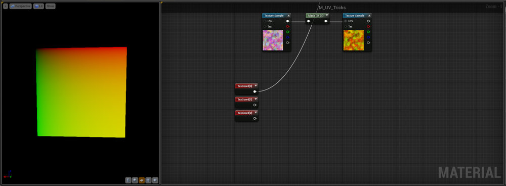 Lastly you've probably noticed the TexCoord[0] in the Name of the Node. Well TexCoord is just Unreals name for UV and is a shortened version of Texture Coordinate.  The [0] refers to UV layout 0 - it's really useful to unwrap a model in multiple ways and keep them all in the model for different uses - for example a Character might have a large tiling unwrap for things like cloth detail normals and then another unwrap that is just a front Planar projection which allows for a quick way to paint mud kickup on the bottom of the trouser leg etc.