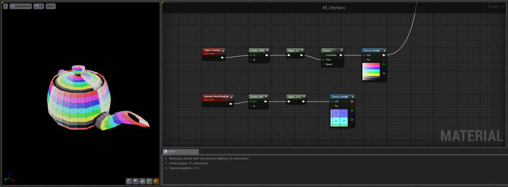 Procedural Texturing   So now we understand our Position Nodes lets use them in a couple of practical examples - Firstly we're taking the Object position and plugging it into the Time input of a Panner Node - Now when we move the object around in the Y axis (because we've just masked off the G channel) the texture scrolls around the object.  This is a great technique for adding positional variation to materials - you could for example take a dirt overlay map and use this technique so that if you had multiple copies of the same mesh next to each other, each would appear to be be slightly different due to having different offsets on the Dirt map.  Note this can only be used on static objects - if things are moving then this effect would break, unless that's the effect you're after (rotating wheels on a background object car for example could be done cheaply with a shader like this etc.)   Secondly we have something similar but sort of opposite - here we're taking the RG channels of the World Position and plugging them into the UV's of a Texture - basically what we're doing is a projection mapping from the top down direction.  This kind of technique is really useful for things like Terrain or Water where we know the surface will always be facing up and allows us to use different size and shape meshes and ensure that they always Tile correctly and don't create seams etc.  Similarly if we wanted to create scrolling raindrops on a variety of surfaces this would be better done mapped to World Space so the UV's and scale of the meshes didn't matter.  Again this only really works if the Mesh is static, although you could do something like mapping a smoke Texture to World Space and then apply that to a flashlight light shaft - then when the player moves the light it will look like the smoke is in the world.