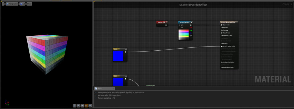 Move Here we've just simply plugged a Vector3 into our WPO input.  Notice how the preview cube moves up in the Z axis?  Basically whatever Vector3 we plug in here will offset our vertices in the X,Y,Z axis.  Pretty cool and incredibly powerful for VFX work.