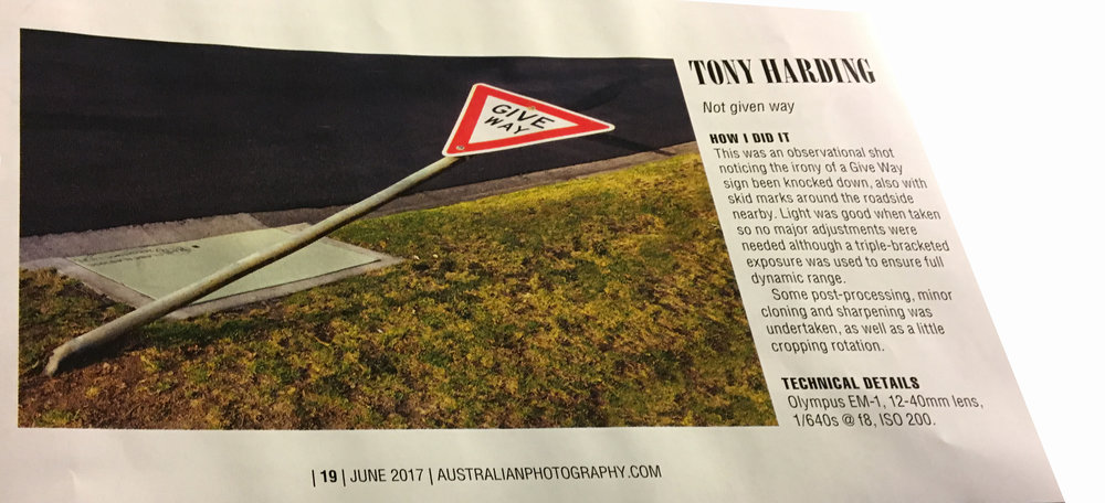 - The June 2017 edition of Australian Photography Magazine had a theme competition of