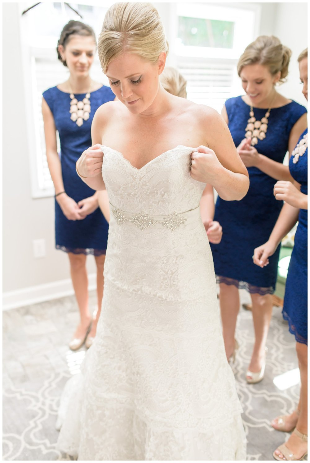 Getting ready details blush pink light green lace gown classic navy blue Charleston South Carolina Wedding Photograpgher Stephanie Kopf Photography eco wedding green environmentally friendly-70.jpg