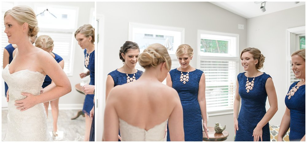 Getting ready details blush pink light green lace gown classic navy blue Charleston South Carolina Wedding Photograpgher Stephanie Kopf Photography eco wedding green environmentally friendly-81.jpg