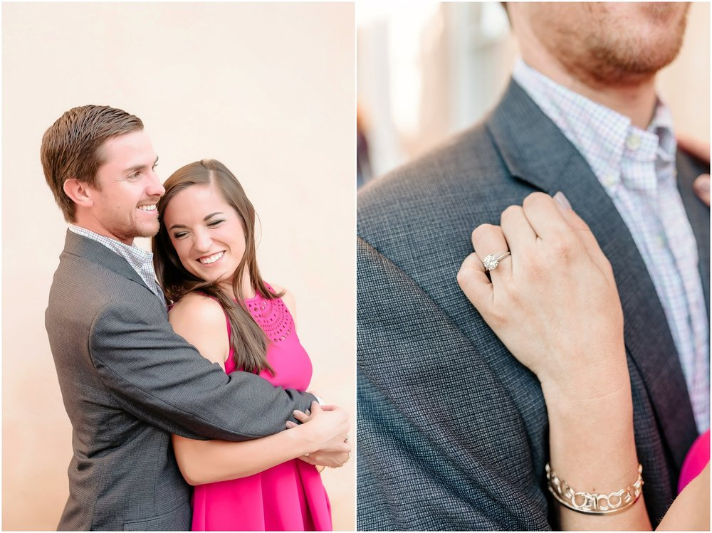 Stylish, Romantic, laid back Downtown Charleston SC Engagement Photographer, Pink fuchsia dress