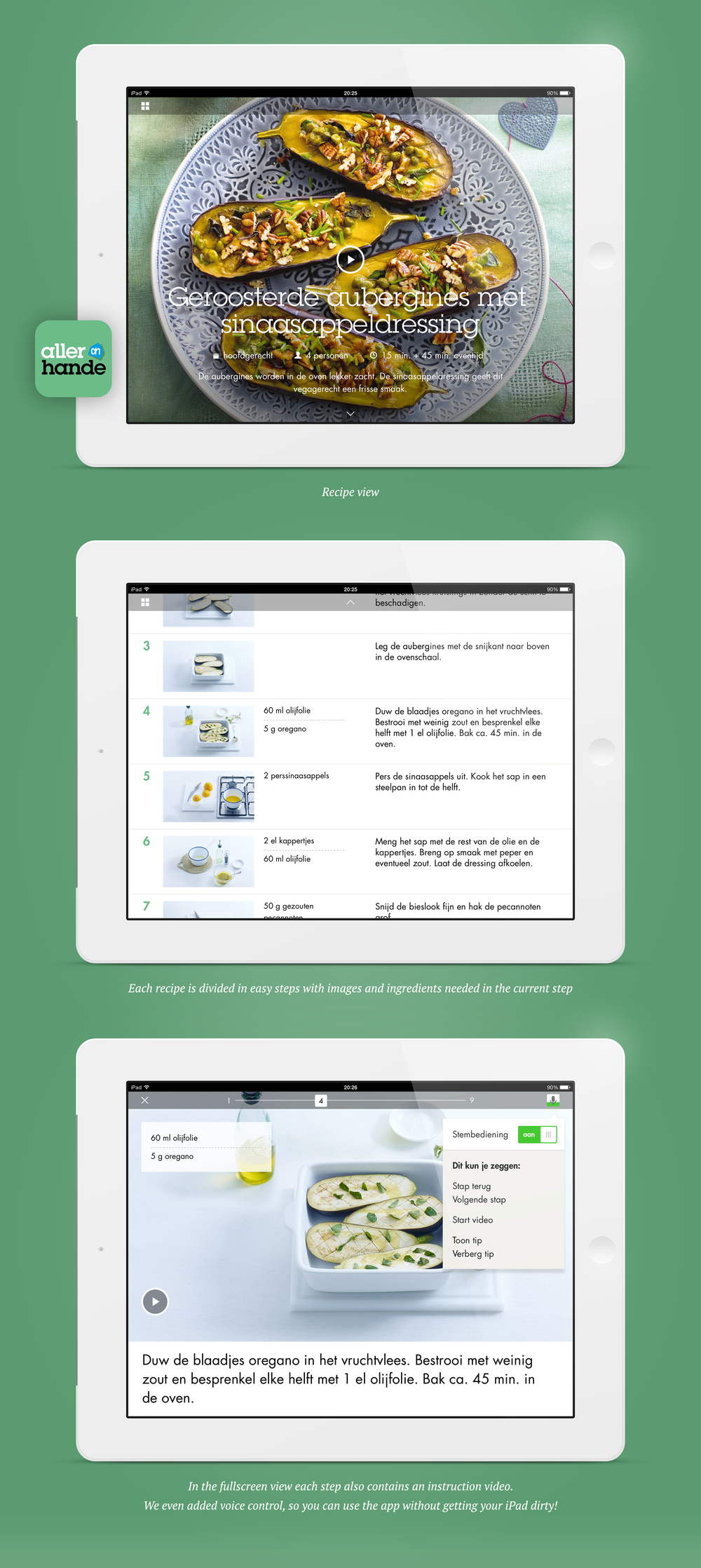 Allerhande Cooking app for iPad - Portfolio of Sanne Wijbenga