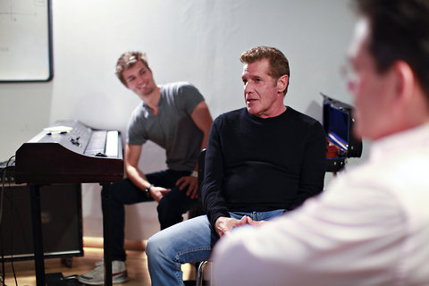 AJ Smith (left) at the keyboard while Glenn Frey (center) and Phil Galdston (right) discuss how they became songwriting mentors.