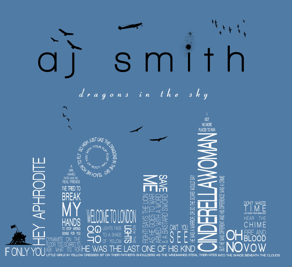 "The album cover, designed by AJ Smith, for debut release ""Dragons in the Sky"""