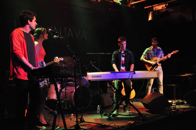 From left to right: Peter Hodgson, AnnMarie Powers, AJ Smith, and Andrew Orkin performing at Jammin' Java