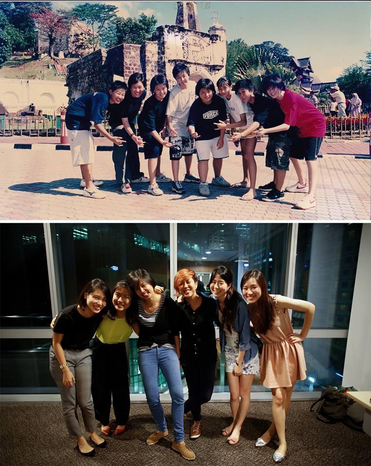 Top: Bernice & Yiqin as teenagers Bottom: Bernice & Yiqin in 2013