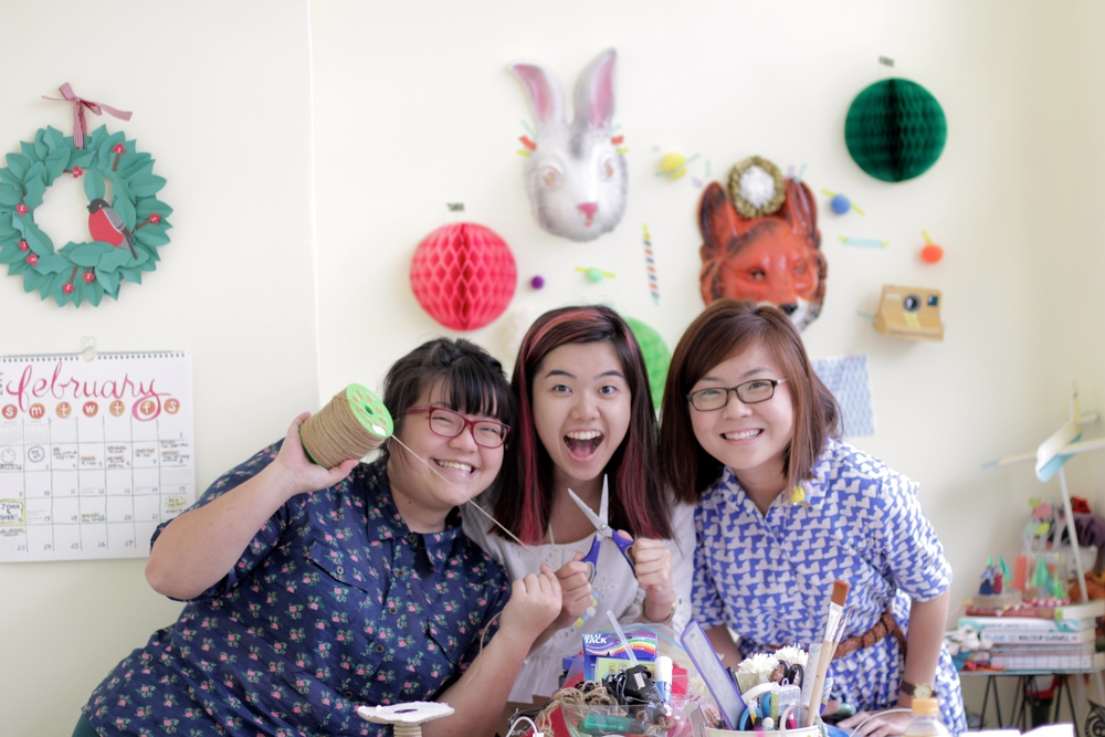 In Merry Motion at home in their new studio. Jomaine (middle) is their first full-time hire.