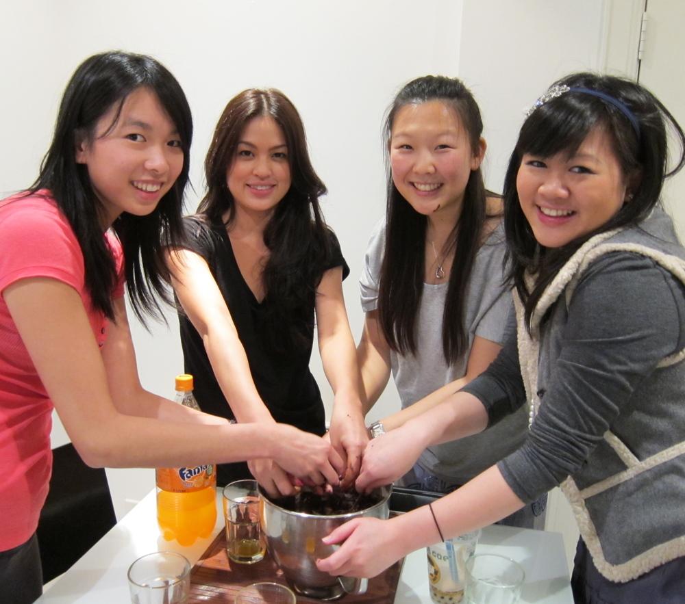 Natasha baking with friends