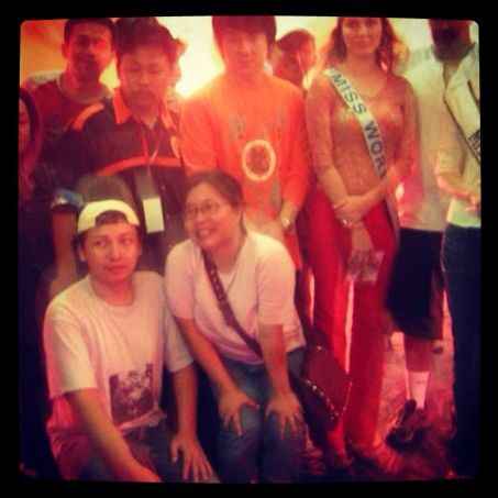 Meeting Jackie Chan and Miss World in Aceh, 2005.