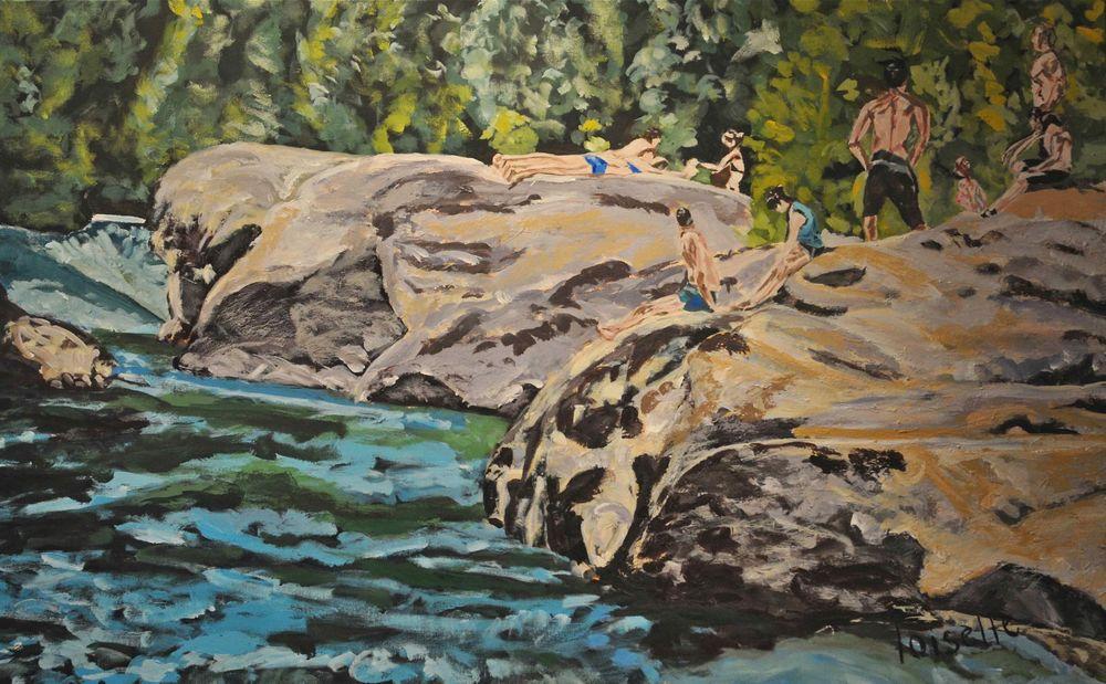 Rivière aux émeraudes   Acrylique sur toile  48 po x 30 po   Vendue