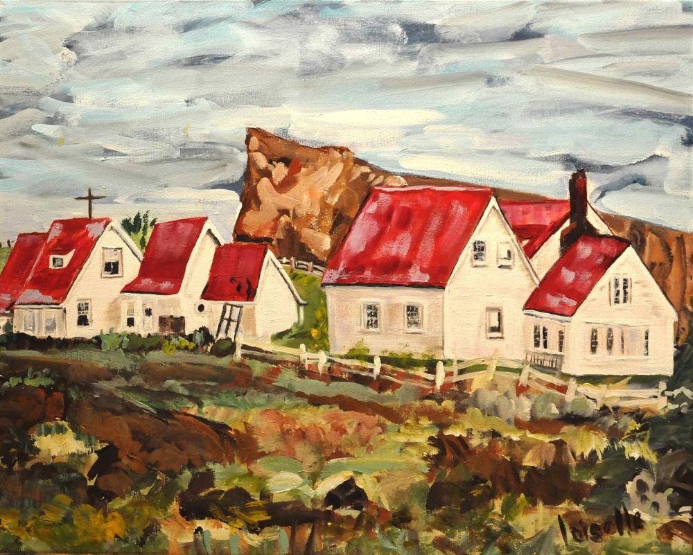 Maisons sur le cap   Acrylique sur toile  20 po x 16 po   Vendue