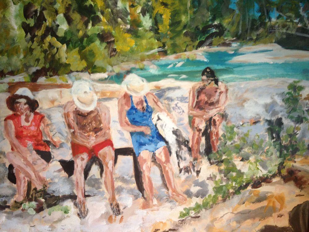 Un après-midi à la rivière   Huile sur toile  24 po X 18 po   Collection privée