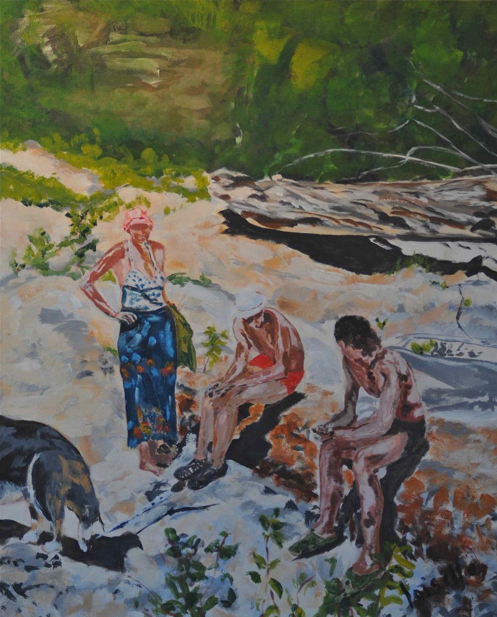 Bamboo et ses amis   Acrylique sur toile  20 po X 30 po   Collection privée
