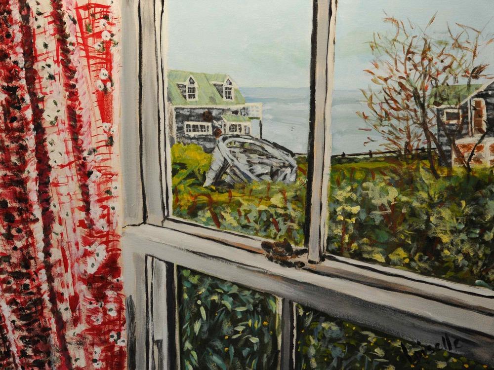 Le rideau rose   Acrylique sur toile  24 po X 18 po   Collection privée