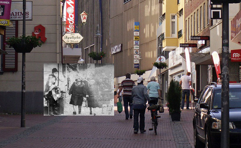 A montage showing the corner where Moondog used to play