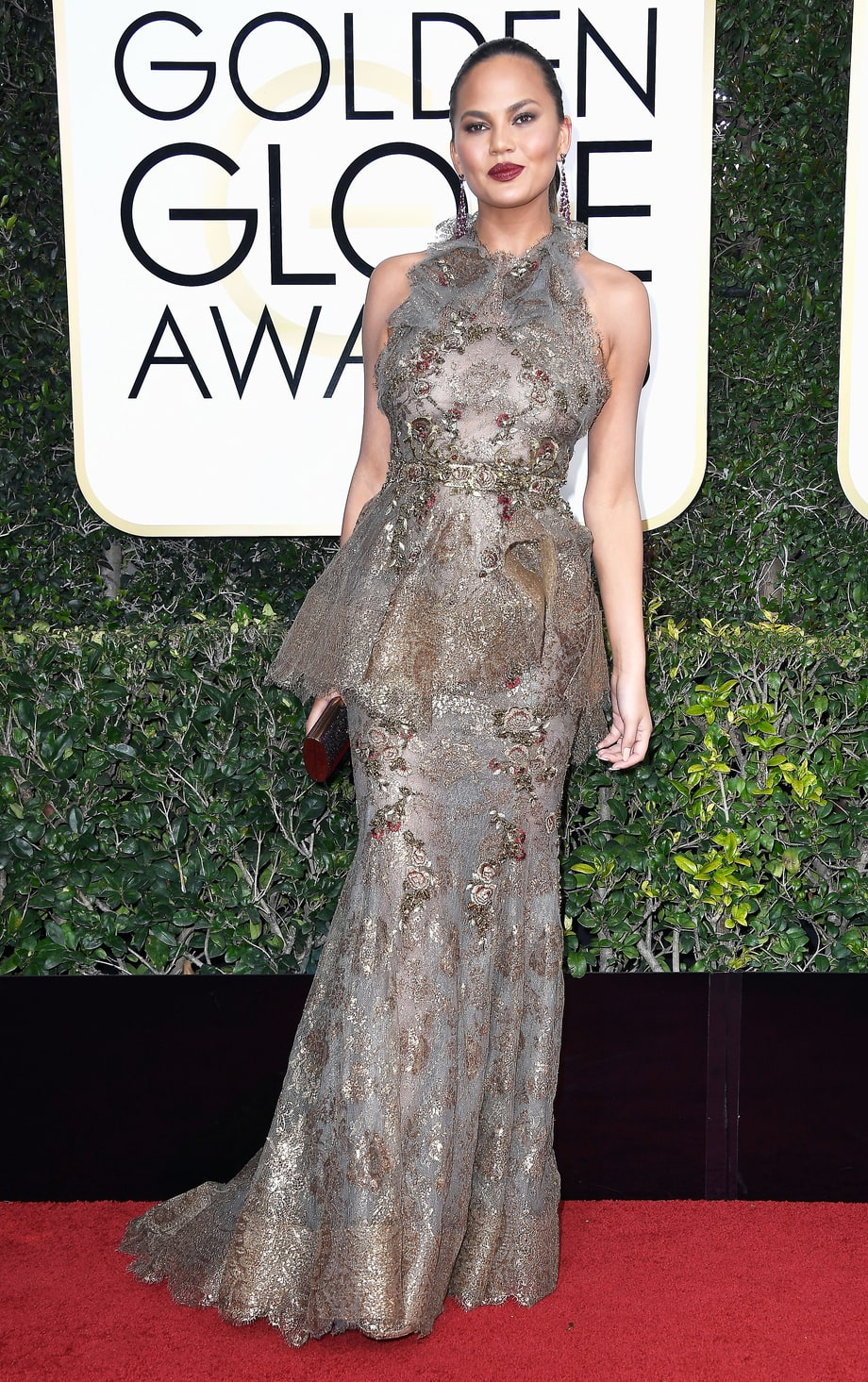 Chrissy Teigan in Marchesa (Photo Credit: Frazer Harrison / Getty)