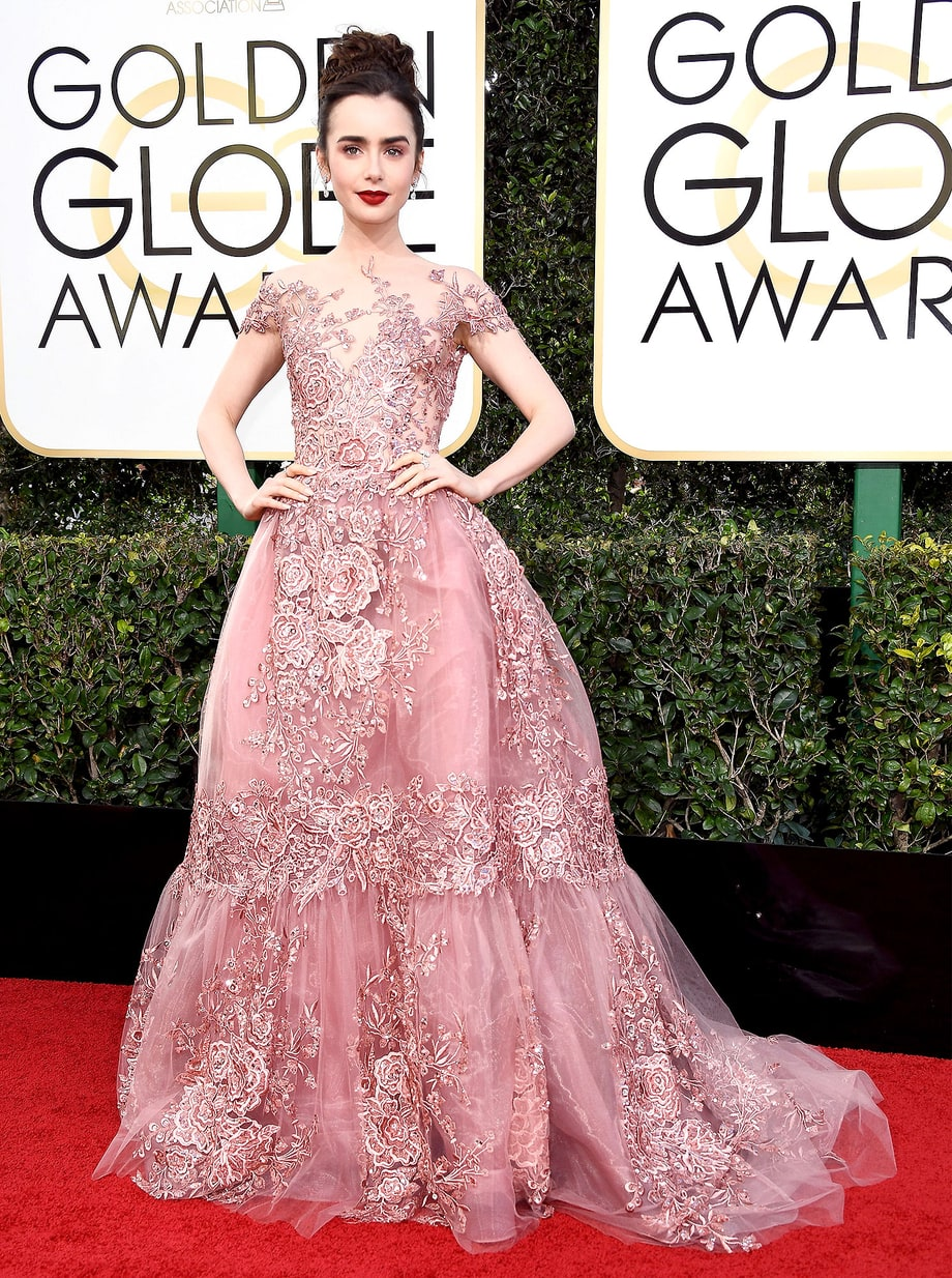 Lily Collins in Zuhair Murad Couture (Photo Credit: Frazer Harrison / Getty)