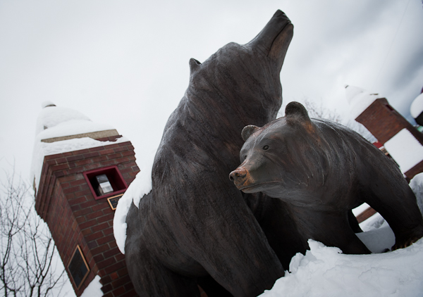 Lifesize bronze Grizzly Bears guard the entrance of Grizzly Plaza in downtown Revelstoke.