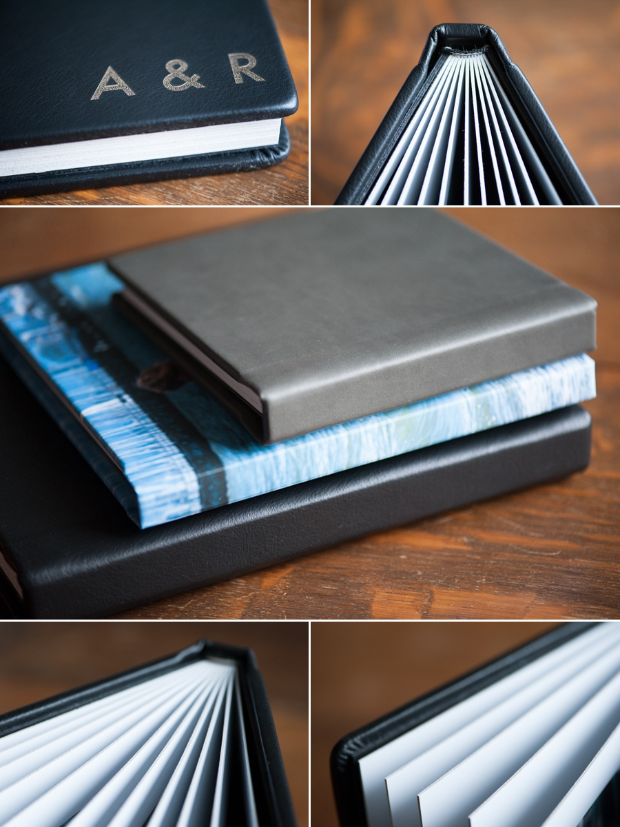 Synthetic leather square format albums.