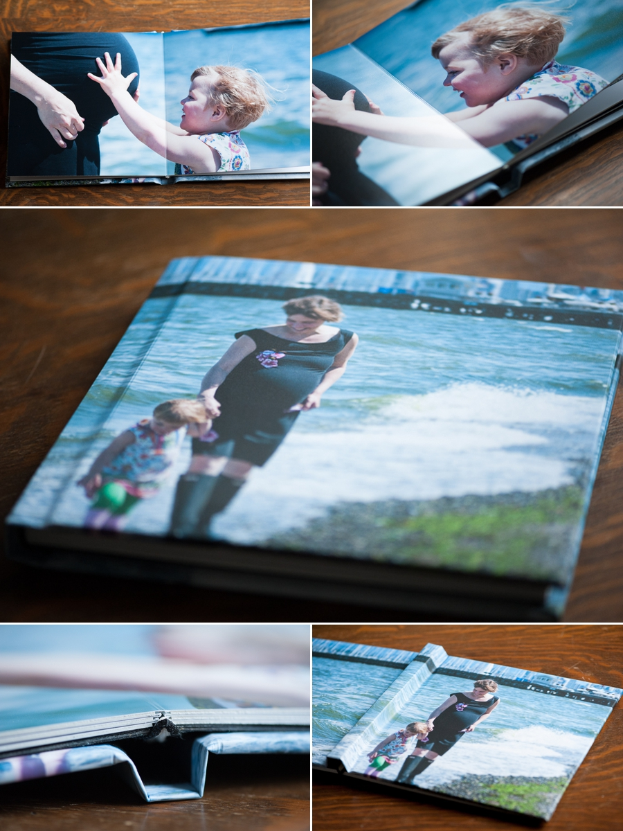 Lay flat photo wrap albums have a laminate layer to protect against liquid and UV.