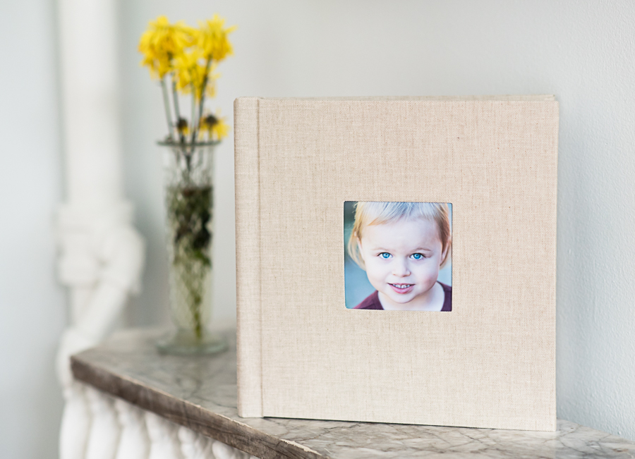 Albums are available with a full cover or a sweet cameo portrait cover.