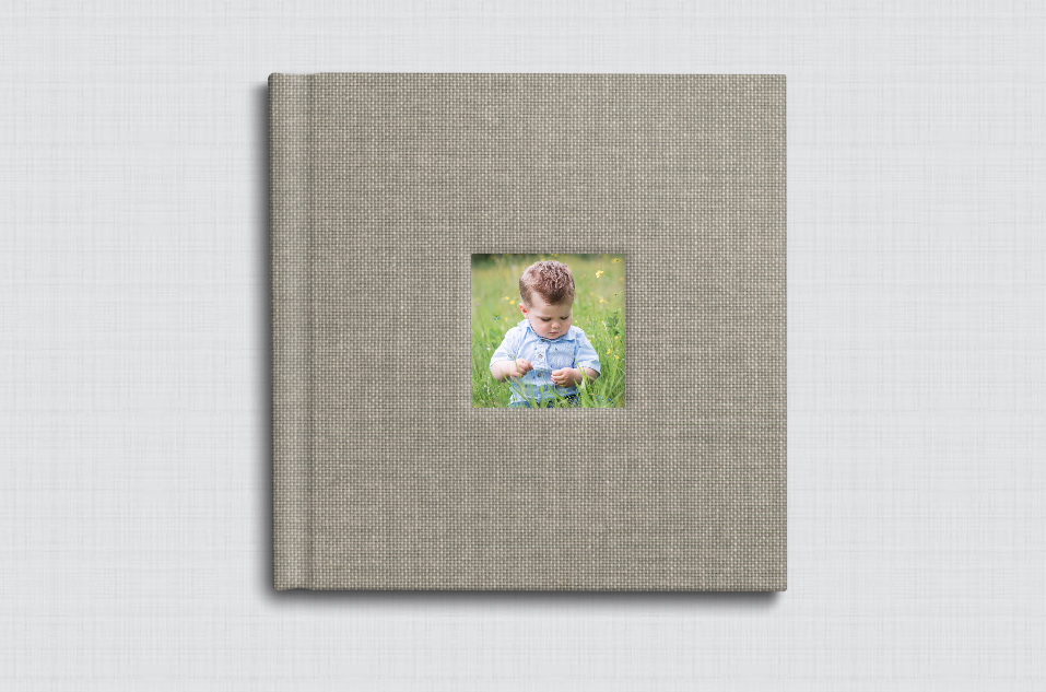 This FAMILY chose a sweet cameo window on their STORYBOOK ALBUM of THEIR FAVORITE portraits FROM THEIR DEER LAKE PARK SESSIon.