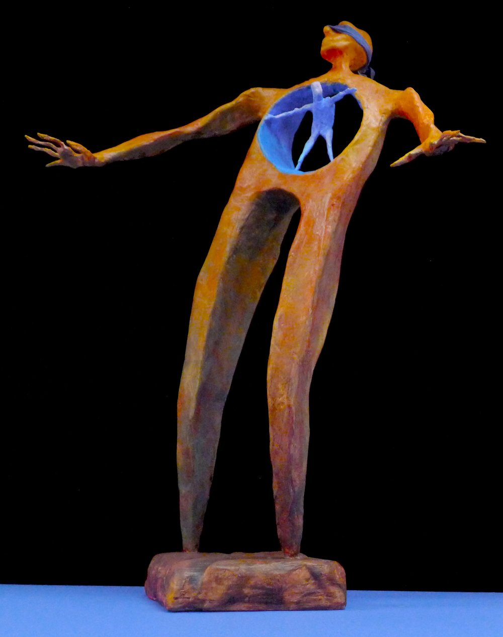 """Intuition"" Wood, wire, fabric and acrylic polymer painted with acrylic. About 33"" tall"