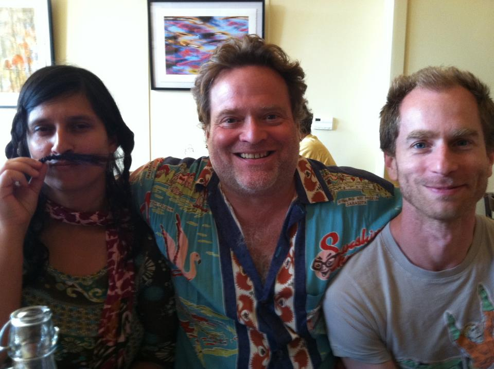 With my friends, Bhanu Kapil and Douglas A. Martin at a restaurant in Hardwick, Vermont which we loved but never went back to again.