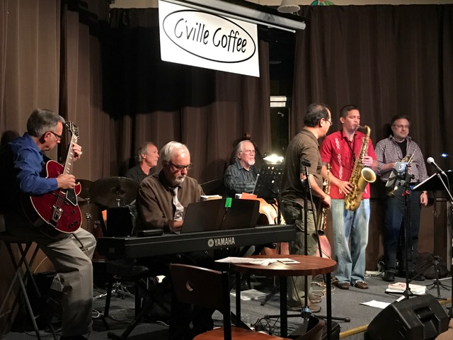 The house band swings hard:  Vince Lewis  on guitar,  Jim Howe  on drums, Steve Baber on the keyboard, Lew Morrison on bass, Victor Lee on soprano sax, Haywood Giles on tenor sax, and Steve Brecker on trumpet.