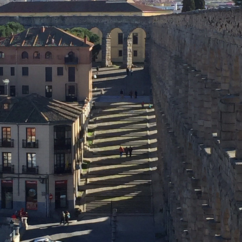 Shadows cast on stair from aqueduct, Segovia