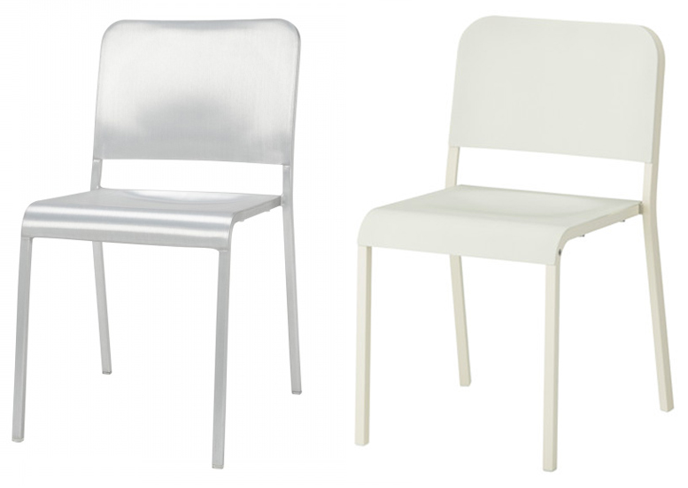 IKEA's Melltorp dining chair (right) looks suspiciously similar to Emeco's 20-06 Stacking Chair (left).