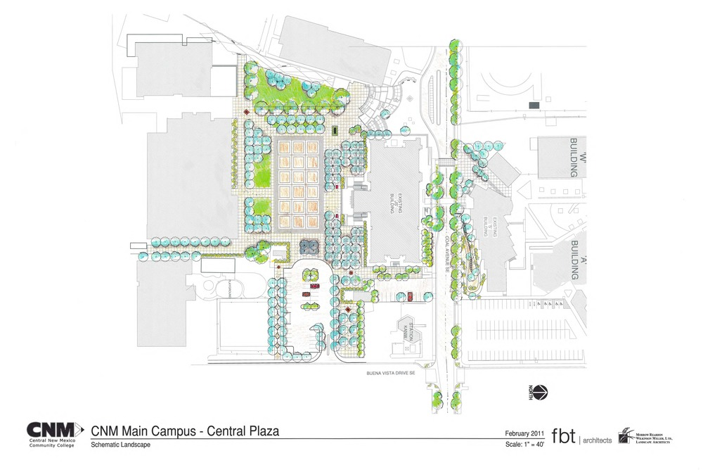 Sketch plan for main plaza at CNM
