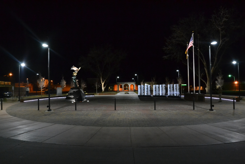 Overview of the plaza at night
