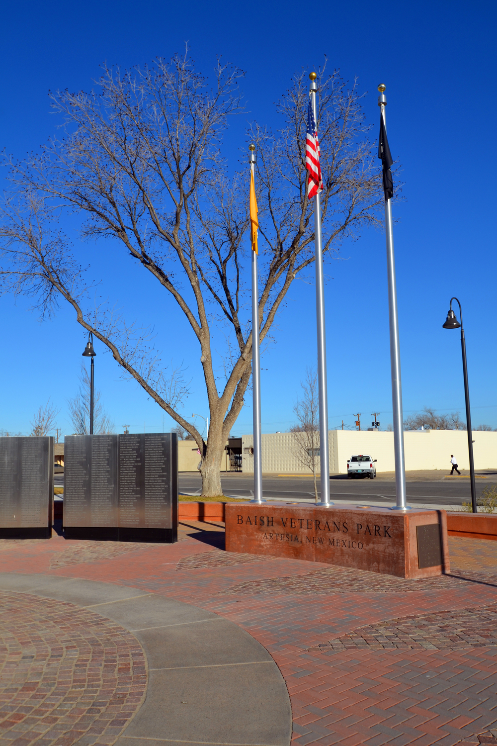 Memorial park with flag poles