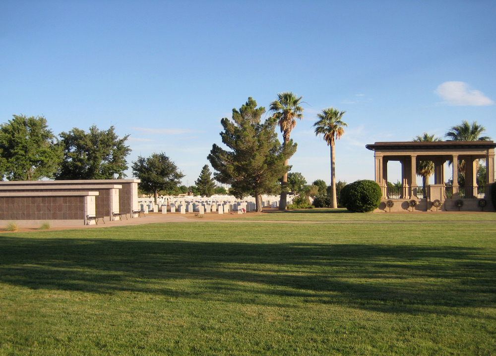 Fort Bliss National Cemetery - view of the columbariums next to cemetery