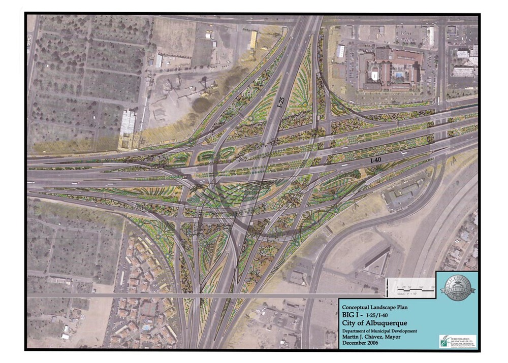 Site design for I-40 / I-25 highway interchange