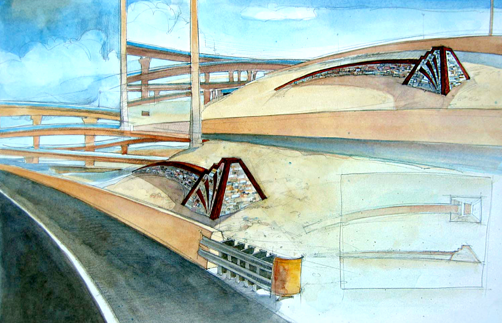 Artist's rendition of site details for Big I highway interchange