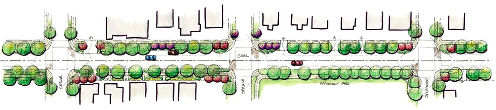 Design sketch for intersection and streetscape treatments