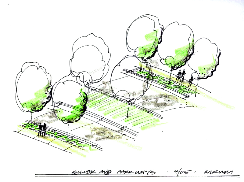 Conceptual sketch for historic parkway renovation